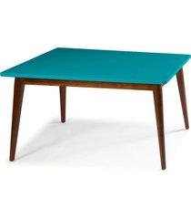 mesa de madeira retangular 140x90 cm novita 609 cacau/azul - maxima