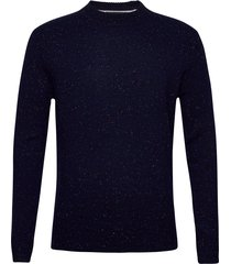 classic neps wool-blend crewneck pull stickad tröja m. rund krage blå scotch & soda