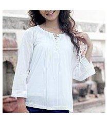 cotton tunic, 'mandala white' (india)