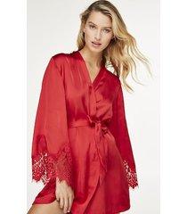 hunkemöller kimono lace satin röd