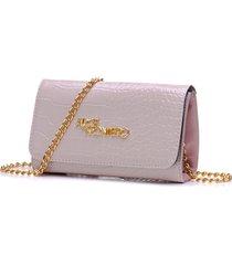 bolsa alice monteiro clutch alça corrente  croco rosa