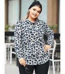 yoins plus tamaño drapeado sagging leopard pocket diseño camiseta de manga larga