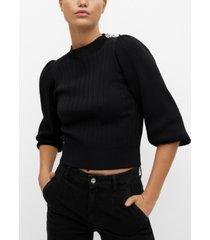 mango women's decorative button sweater