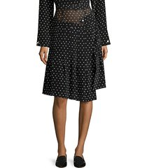 asymmetric silk polka-dot skirt
