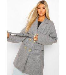 tall nepwollen jas met riem en militaire knopen, grijs