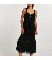 river island womens black lace cotton button up midi dress