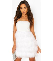 bandeau feather skirt mini dress, white