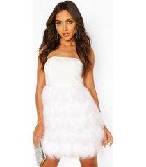 bandeau feather skirt mini dress, white