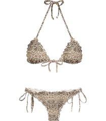 amir slama python print bikini set - neutrals