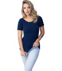 blusa canelada rb moda manga curta azul marinho - azul marinho - feminino - poliã©ster - dafiti