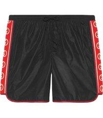 gucci nylon swim shorts with logo stripe - black