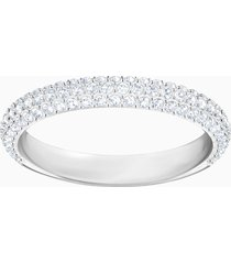 anello stone, bianco, placcatura rodio
