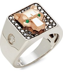 effy men's 14k two-tone gold, black diamond & emerald panther ring - size 10
