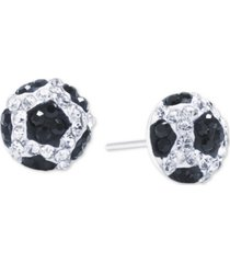giani bernini crystal soccer ball stud earrings in sterling silver, created for macy's