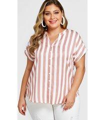yoins plus size pink stripe v-neck short sleeves blouse