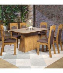 mesa de jantar 6 lugares baly seda/bronze/fumê - viero móveis