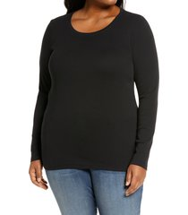 plus size women's caslon long sleeve scoop neck cotton tee, size 3x - black