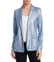 metallic linen-blend shawl collar blazer