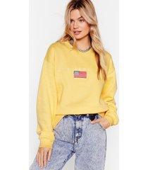 womens los angeles oversized graphic sweatshirt - lemon