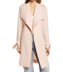 women's halogen drape lapel tie waist topper coat, size x-small - pink