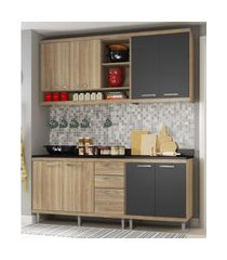 cozinha compacta completa multimóveis com 4 peças sicília 5819 argila/grafite