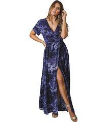 vestido  largo adrissa estampado tie dye  azul oscuro