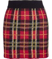 red valentino red wool mini skirt with tartan pattern