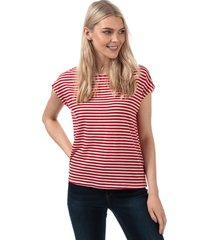 vero moda womens ava striped t-shirt size 10 in red
