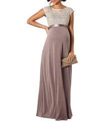 women's tiffany rose mia lace & jersey maternity gown, size 1 - grey