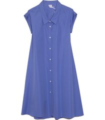 poplin a-line dress with collar in blue
