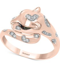 effy tsavorite (1/20 ct. t.w.) & diamond (1/10 ct. t.w.) cat head statement ring in 14k rose gold