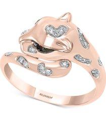 effy tsavorite (1/20 ct. t.w.) & diamond (1/10 ct. t.w.) cat head statement ring in 14k rose gold