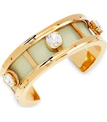 goldtone, leather & crystal cuff bracelet