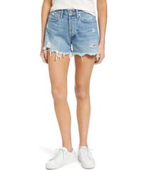 women's agolde parker distressed denim shorts, size 32 - blue