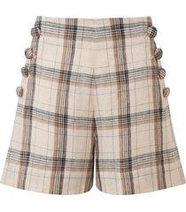 women's lisa marie fernandez plaid linen shorts, size 4 - coral