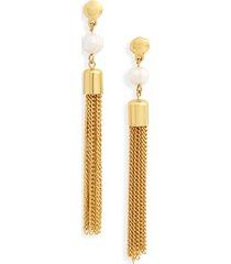 women's karine sultan freshwater pearl tassel drop earrings
