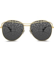 dolce & gabbana eyewear leopard print lens sunglasses - grey