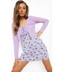 bloemenpatroon onderjurk en cardigan met strik, lilac