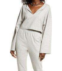 open edit split neck stretch cotton crop sweatshirt, size x-small in grey light heather at nordstrom