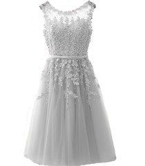 kivary sheer bateau tea length short lace pearls prom homecoming dresses custom