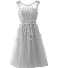 kivary sheer bateau tea length short lace pearls prom homecoming dresses custom