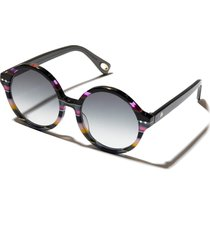 lele sadoughi country club 53mm gradient round sunglasses in rainbow stripe at nordstrom