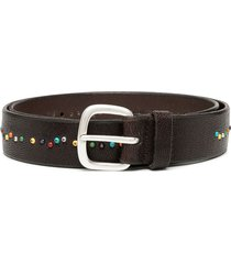 orciani beaded buckle belt - brown