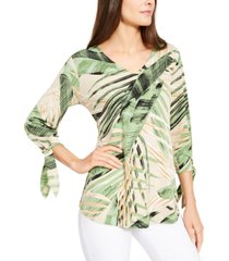 alfani printed tie-cuff top, created for macy's