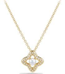 women's david yurman venetian quatrefoil necklace with diamonds in 18k gold