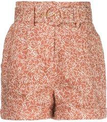 nicholas floral print belted shorts - brown