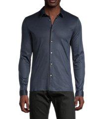john varvatos men's regular-fit long-sleeve shirt - stone grey - size l