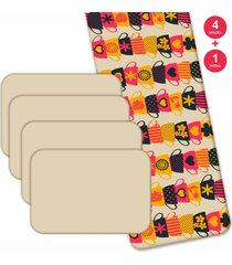 jogo americano love decor  com caminho de mesa wevans xãcaras coloridas kit com 4 pã§s + 1 trilho multicolorido - multicolorido - dafiti