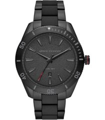 ax armani exchange men's enzo black stainless steel bracelet watch 46mm