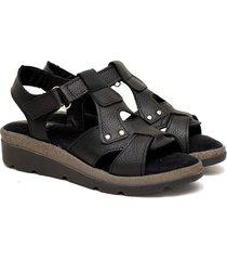 sandalia de cuero negra valentia calzados brenda 460